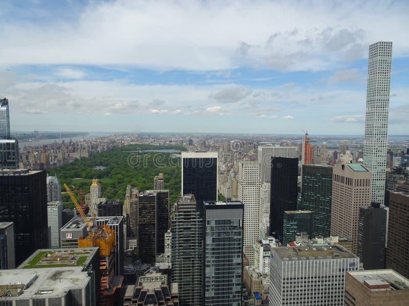 在中央公园的看法从洛克菲勒中心在纽约,美国 免版税库存照片
