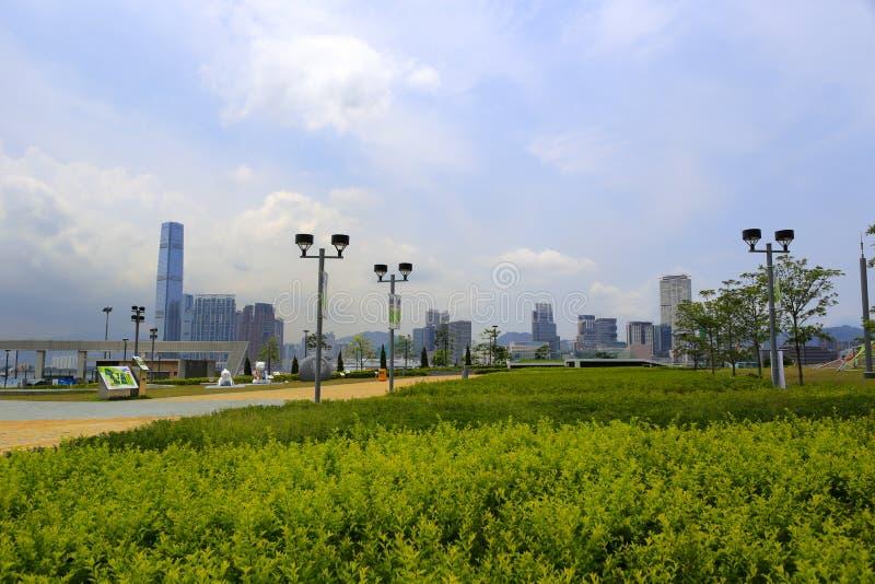 在中央,香港市的绿化区 库存图片