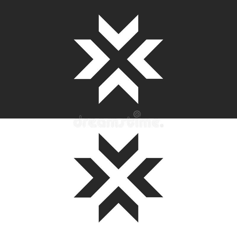 在中心交叉路聚合箭头商标大模型,信件x形状黑白图表概念,交叉点4方向 皇族释放例证