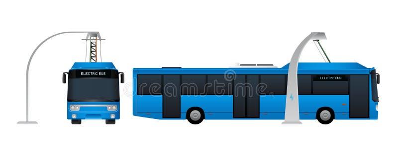 在中止的蓝色电公共汽车由放大尺充电 库存例证