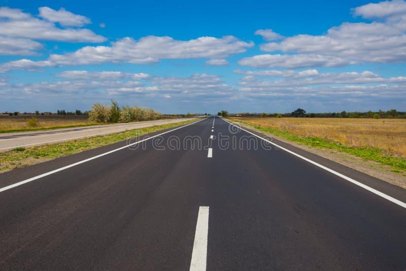 在中的柏油路绿色领域 免版税库存图片