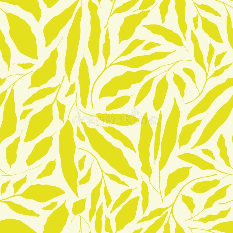 在中立奶油色背景的充满活力的柠檬绿手拉的叶子 无缝的传染媒介设计以一种新有机感受 皇族释放例证
