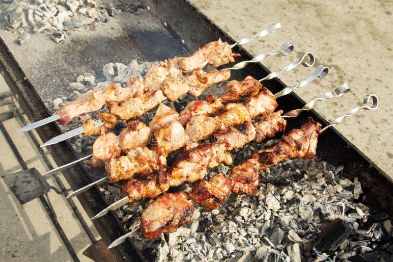 在串烤的肉 免版税库存图片