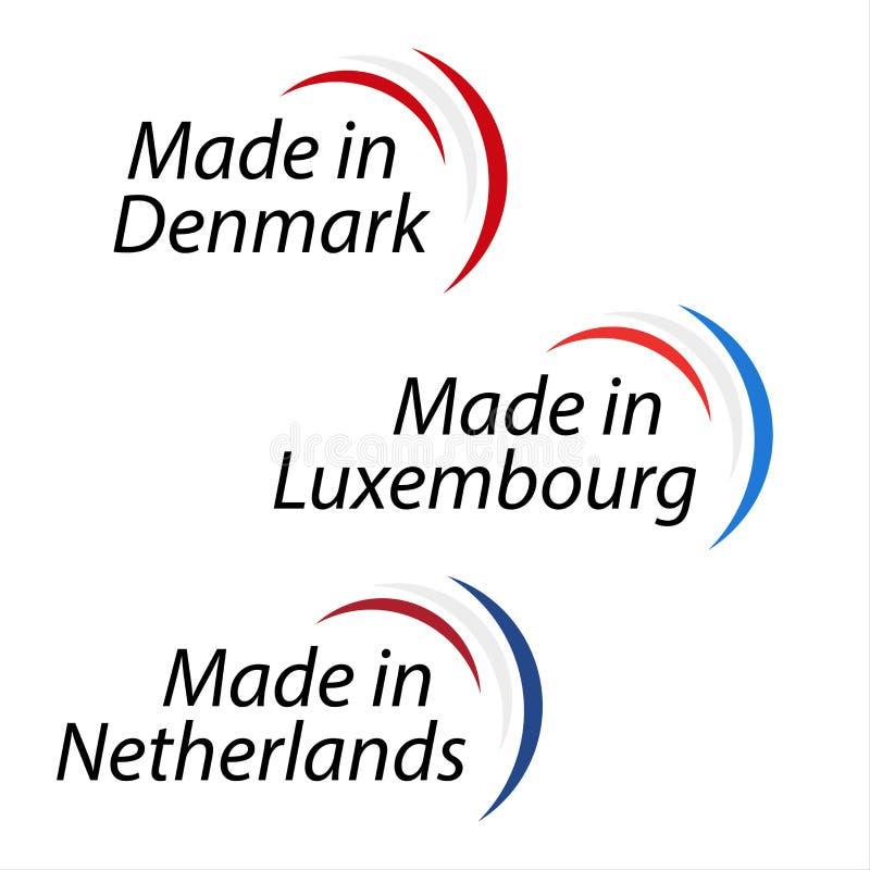 在丹麦制造的简单的商标,制造在卢森堡 向量例证