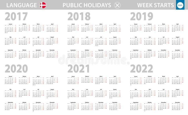 在丹麦语语言的日历年2017-2022 E 向量例证