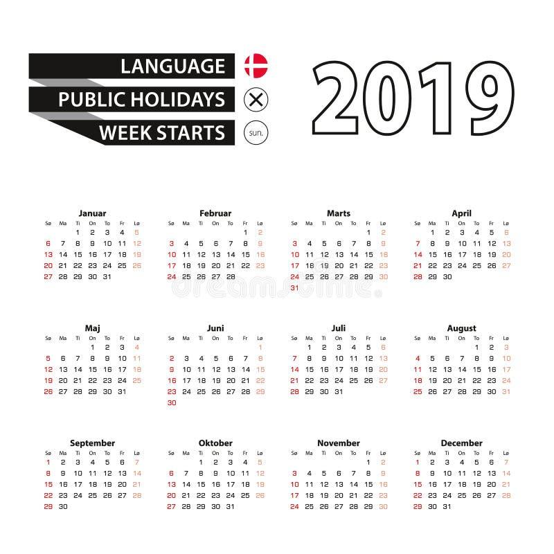 2019在丹麦语语言,从星期天的星期开始的日历 向量例证