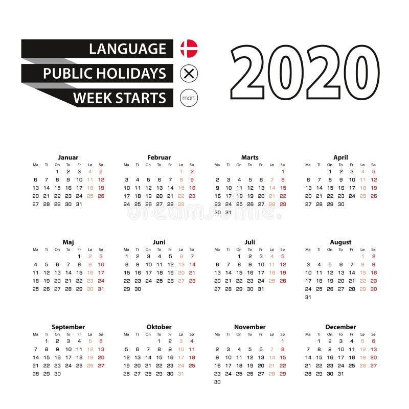 在丹麦语语言,星期开始的在星期一,日历2020年 库存例证