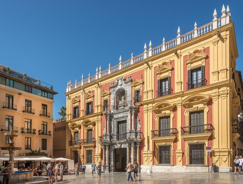 在主教宫殿的看法在Obispo位置在马拉加-西班牙 免版税库存图片