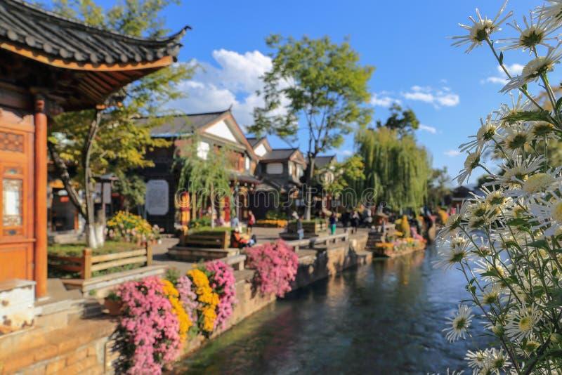 在丽江老镇,云南,中国的小河 免版税库存照片