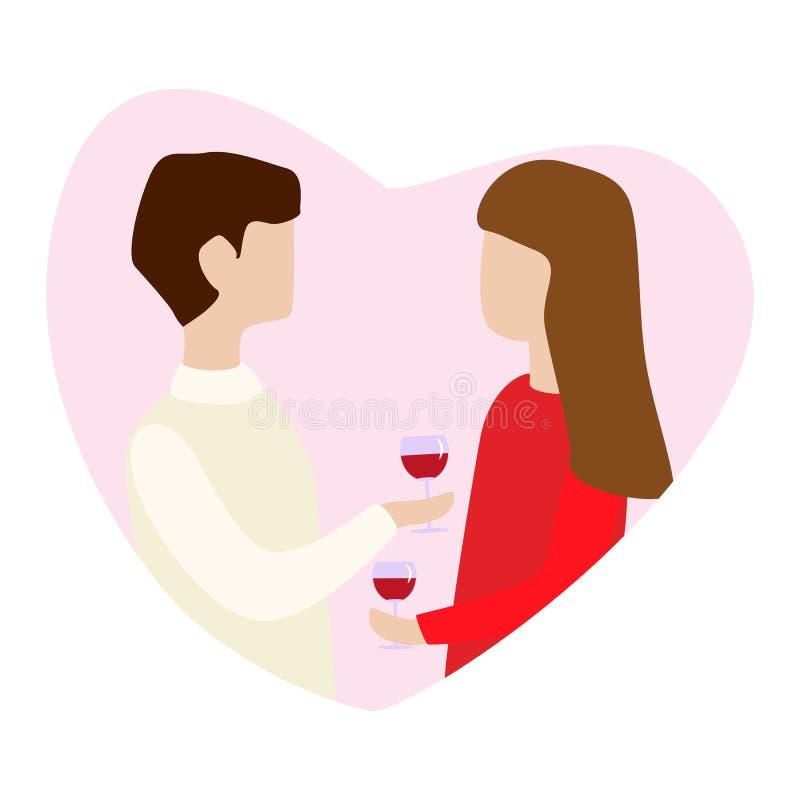 在举行杯子手中和谈判的爱的夫妇 华伦泰s天贺卡的例证 皇族释放例证
