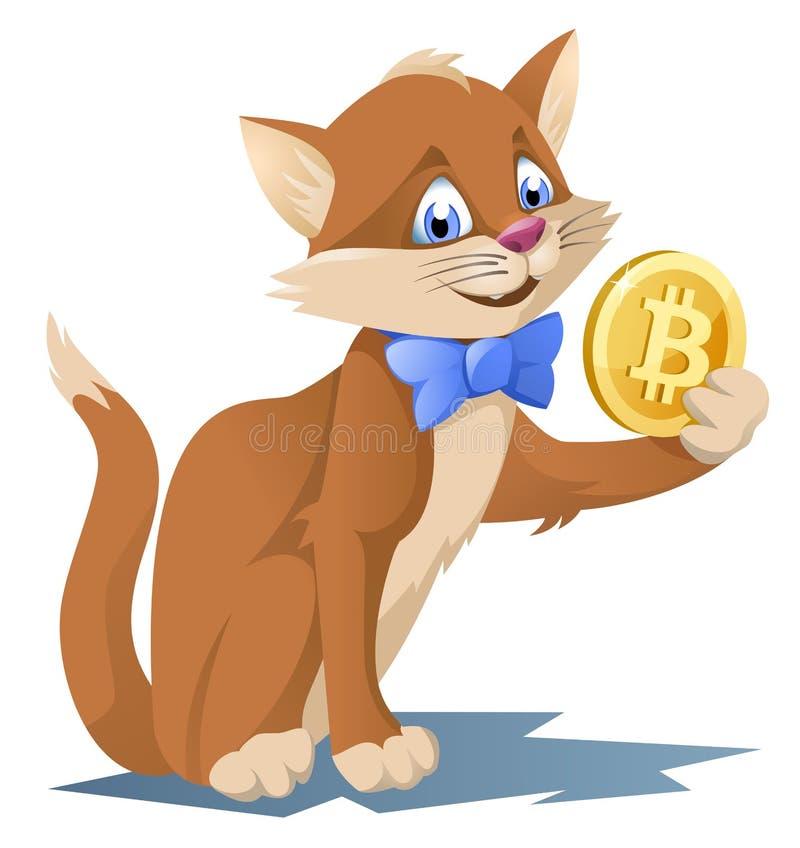 在举行bitcoin标志的蝶形领结的滑稽的猫 库存图片