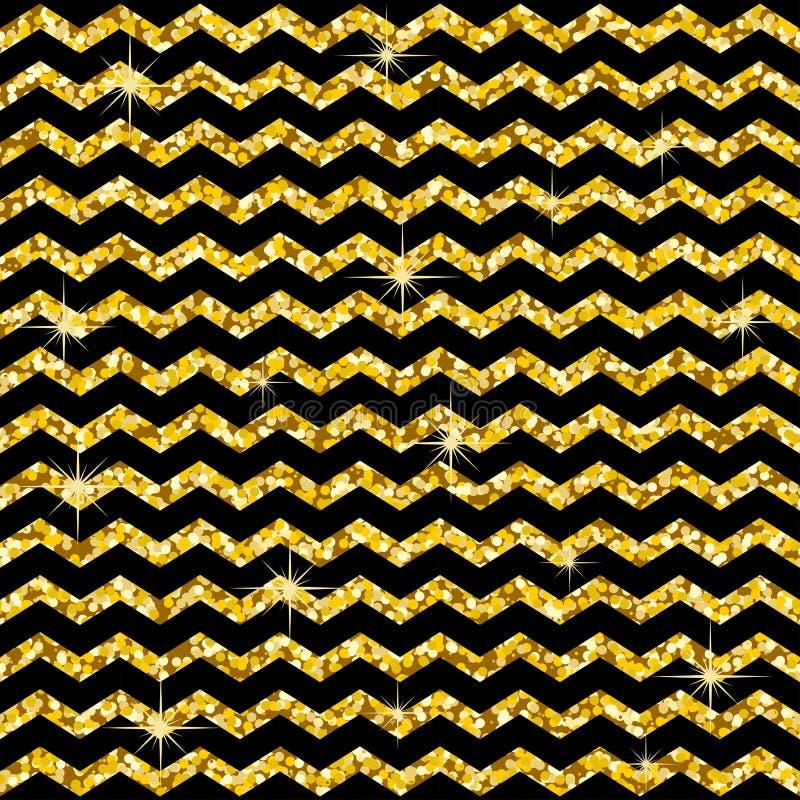 在之字形的样式 经典V形臂章金子闪烁样式 盘旋金黄 抽象几何纹理 减速火箭的葡萄酒装饰 des 库存例证