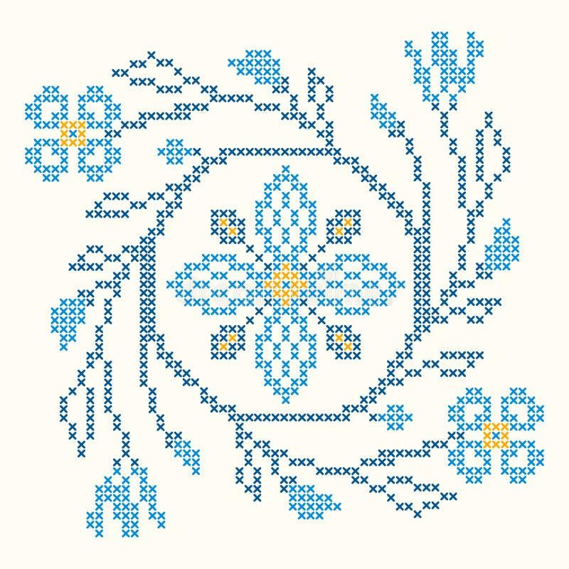 在乌克兰样式的十字绣刺绣 库存例证