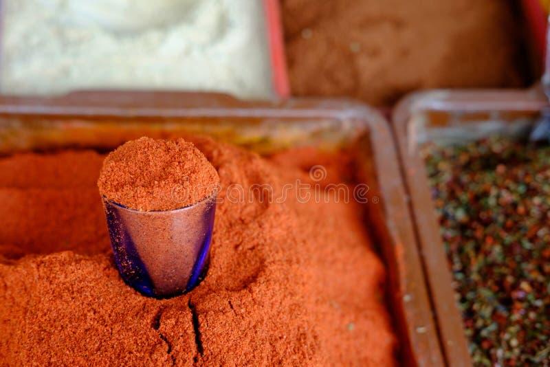 在乌兹别克人市场上的辣椒粉在撒马而罕,乌兹别克斯坦 浅深度的域 免版税库存图片