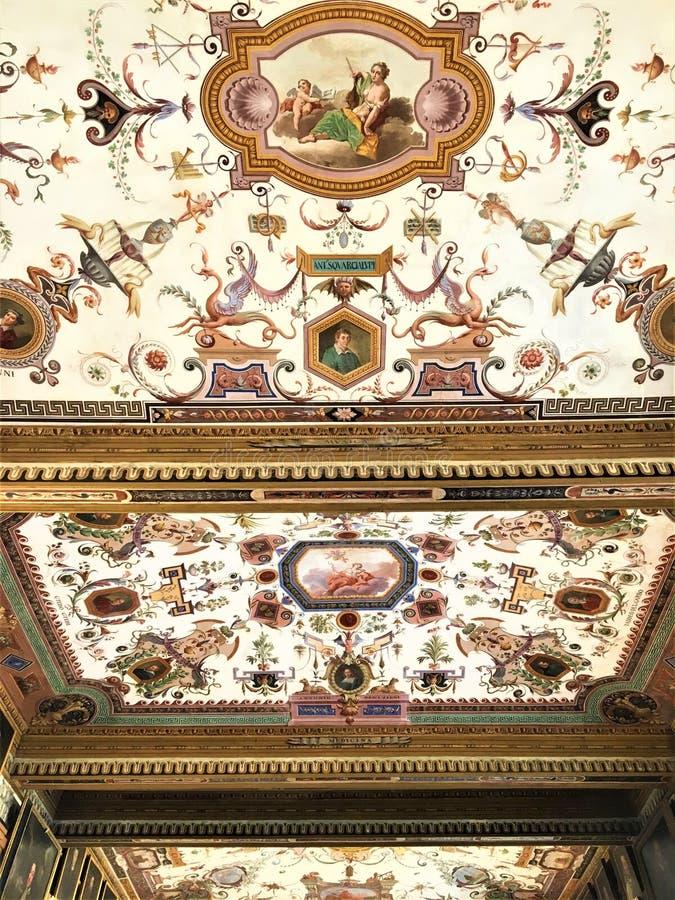 在乌菲兹美术馆画廊、佛罗伦萨、秀丽和艺术的奇异风格 库存照片