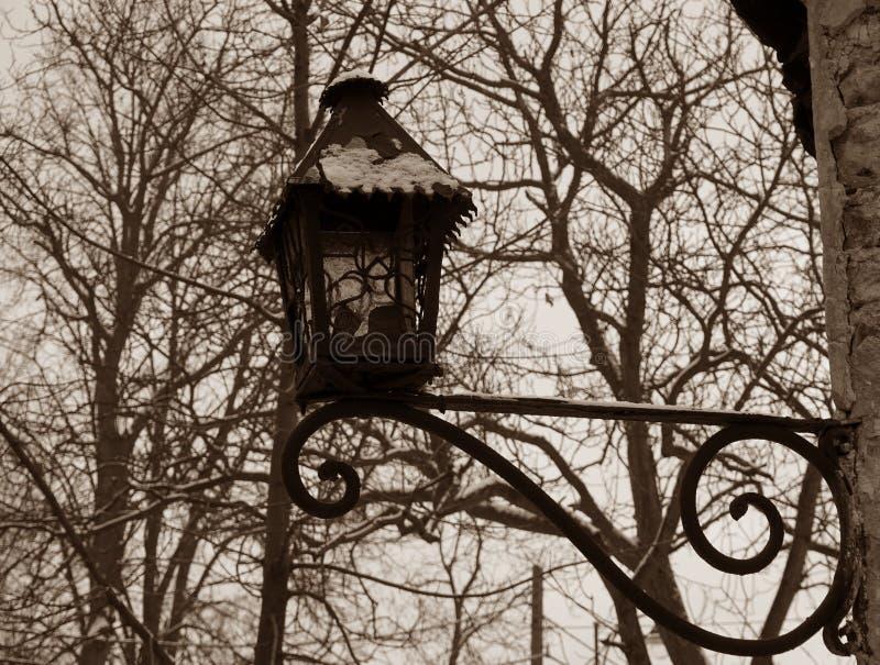 在乌贼属的老路灯柱 免版税库存图片