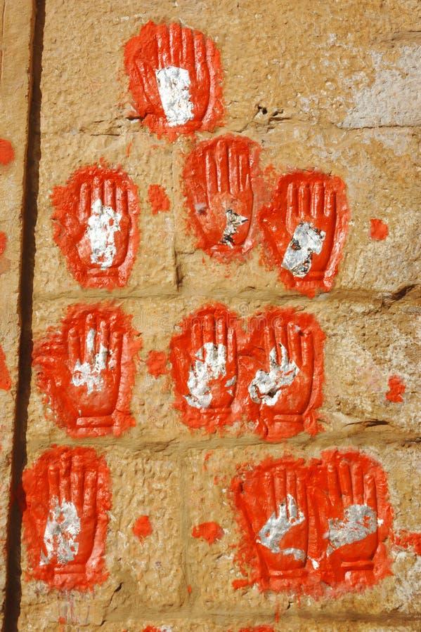 在乔德普尔城,印度做sati妇女的现有量打印  免版税图库摄影