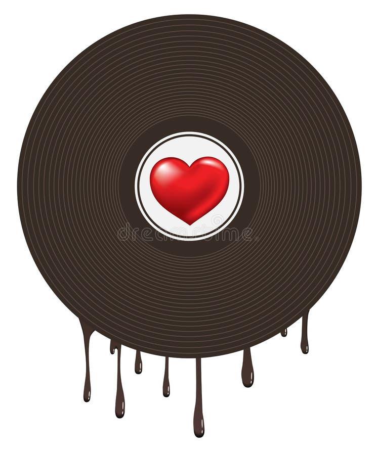 在乙烯基的爱心脏 向量例证