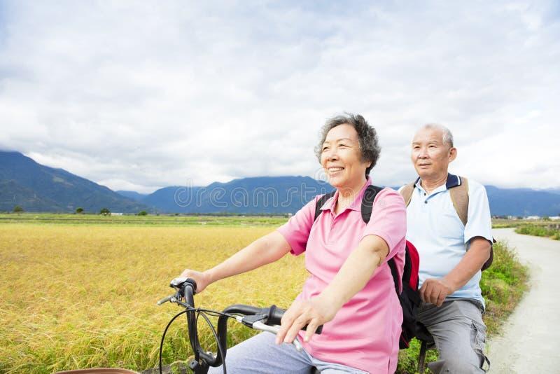 在乡下公路的愉快的资深夫妇骑马自行车 库存图片