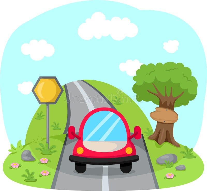 在乡下公路的旅行的汽车 向量例证