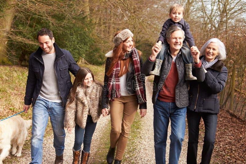 在乡下步行的多一代家庭 库存照片