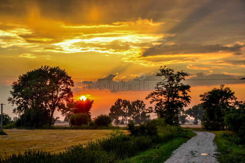在乡下的日落 库存照片