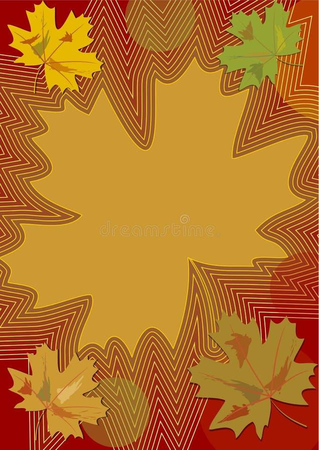 在乡愁颜色的秋天题材与五颜六色的槭树叶子和曲线,自己的文本的背景在茶黄,深红和绿色d 向量例证