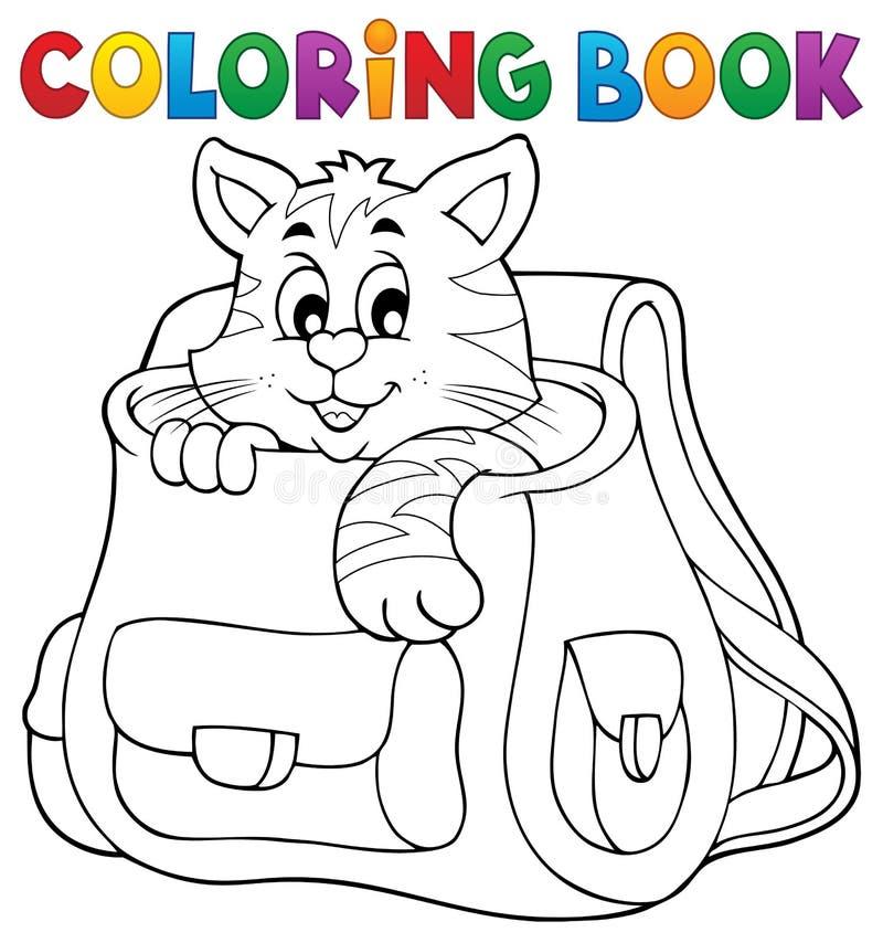 在书包的彩图猫 库存例证