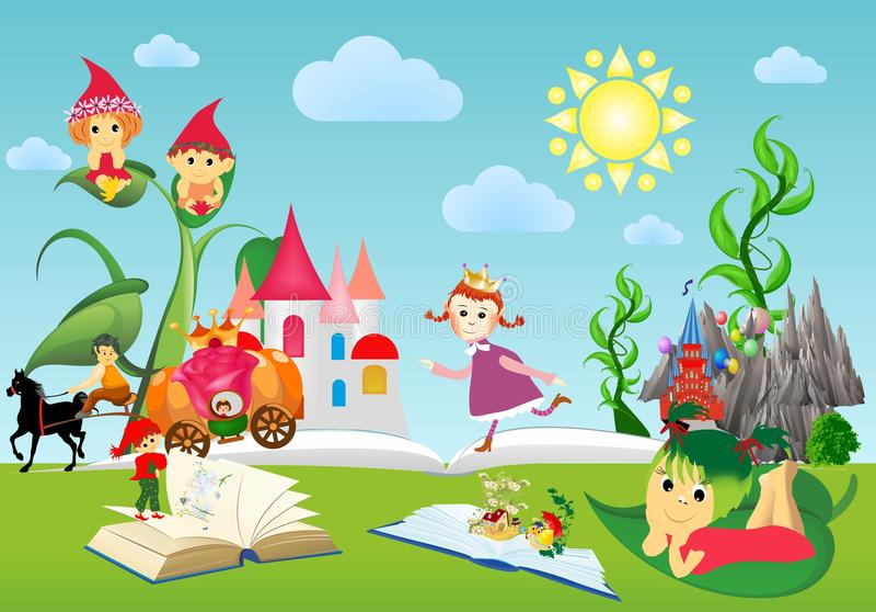 在书和童话世界,书, 向量例证