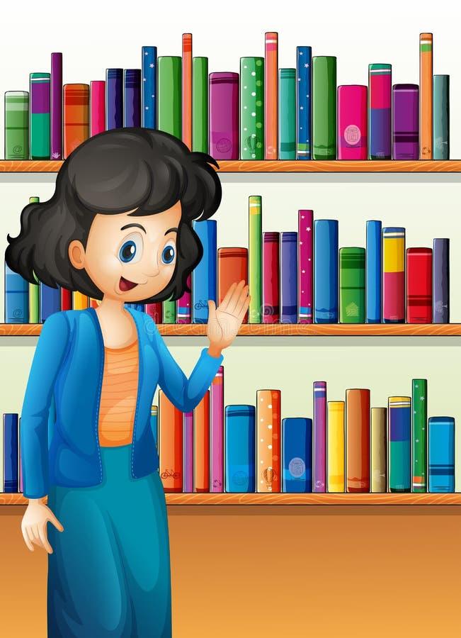 在书架前面的一位图书管理员有书的 向量例证