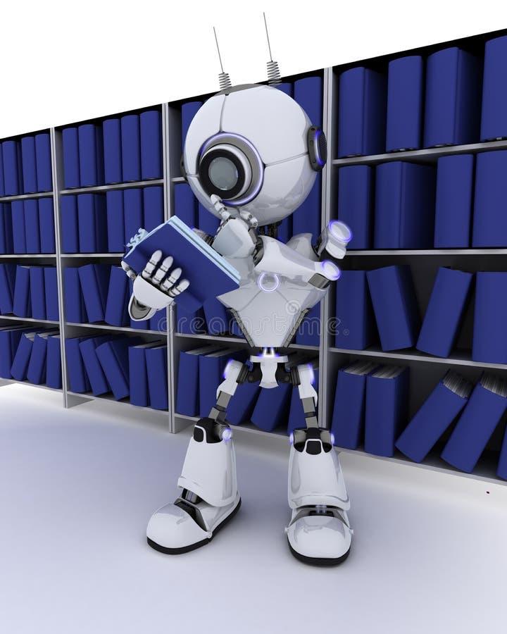 在书架的机器人 向量例证