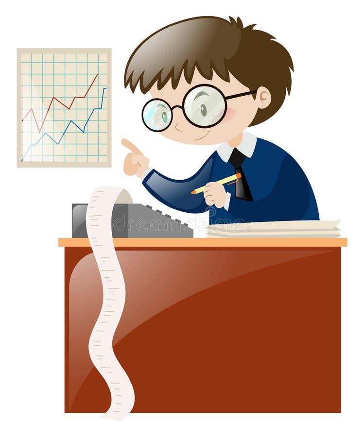 在书桌上的会计计算的数字 皇族释放例证