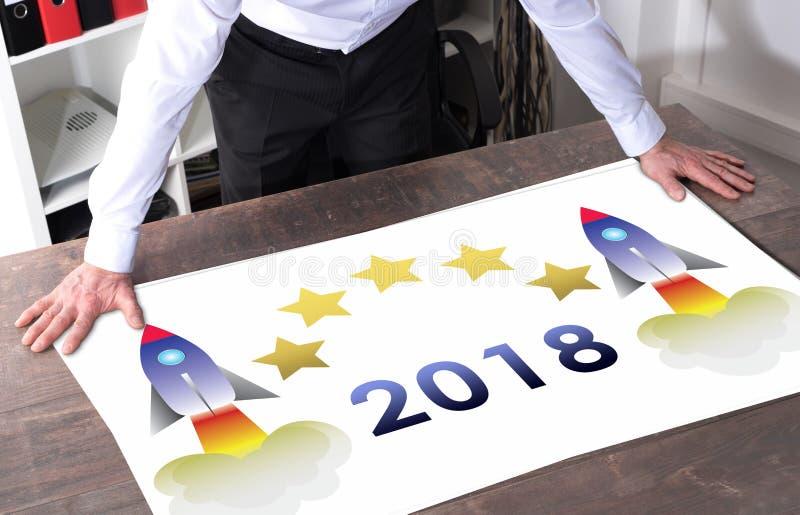 在书桌上的新年2018年概念 库存照片