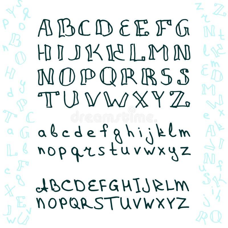 在书法刷子的手拉的字母表 名片的,横幅,海报,笔记本,邀请模板 库存例证