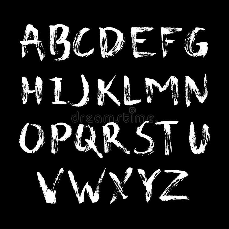 在书法刷子的手拉的字母表 名片的,横幅,海报,笔记本,邀请模板 皇族释放例证