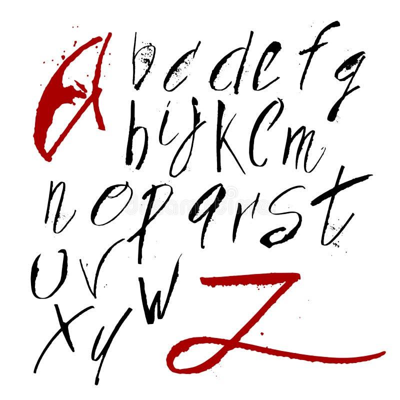 在书法刷子的手拉的字母表 皇族释放例证