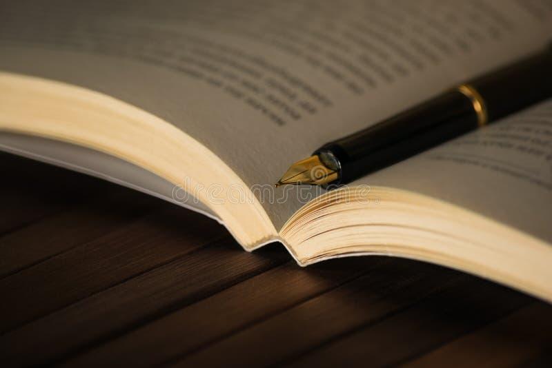 在书的墨水笔 免版税库存图片