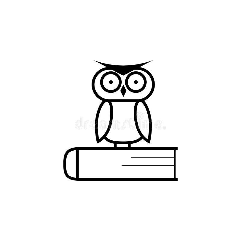 在书的猫头鹰,商标,教育象征象 向量例证