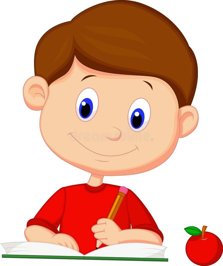 在书的逗人喜爱的动画片男孩文字 向量例证