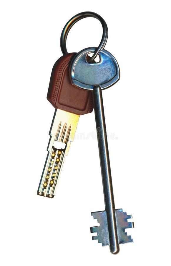 在买房地产销售租的圆环的两把钥匙隔绝在w 免版税库存图片