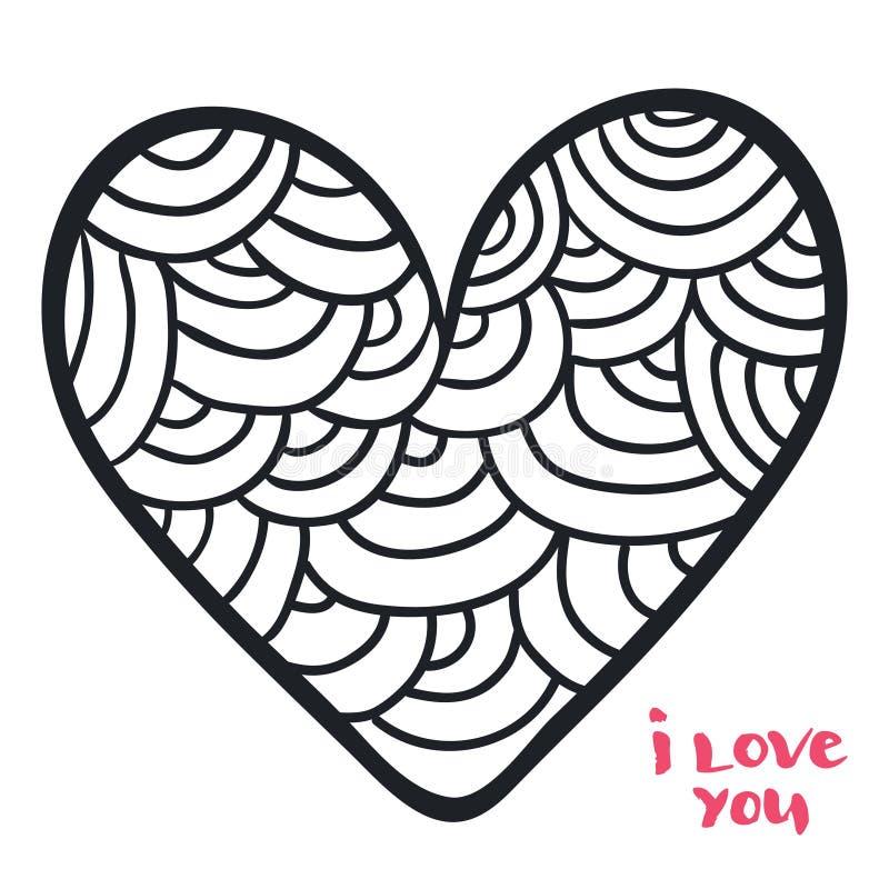 在乱画样式的心脏 彩图的传染媒介例证 被添加的背景日格式华伦泰向量 库存例证
