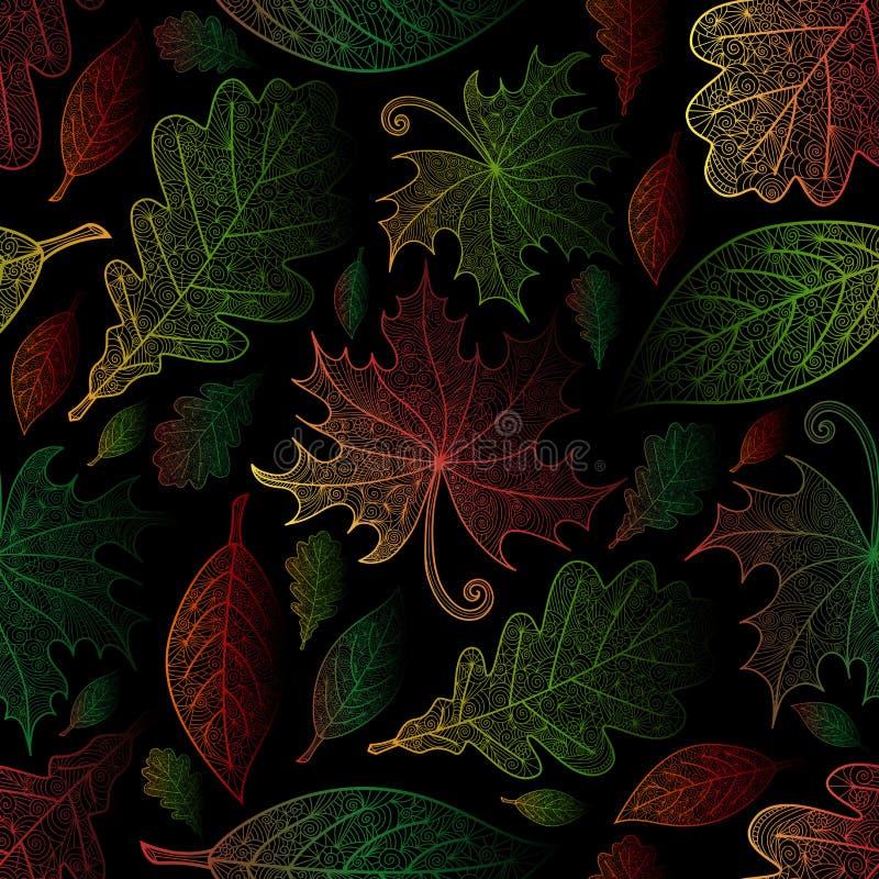 在乱画样式的无缝的秋叶样式 向量例证