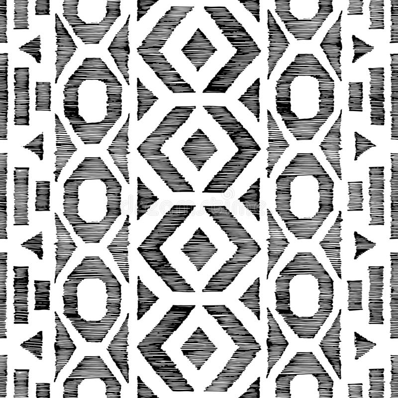 在乱画样式的无缝的黑白样式 r 难看的东西铅笔用手被画的纹理 ?? 向量例证