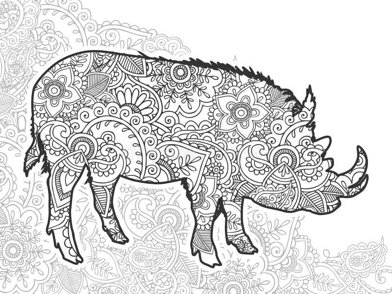 在乱画的黑白动物手拉的公猪 皇族释放例证