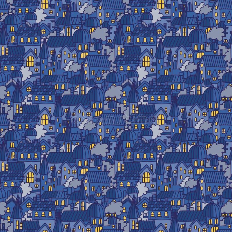在乱画样式的一点镇无缝的样式 与动画片房子的微小的城市夜背景街道的 手拉的desi 皇族释放例证