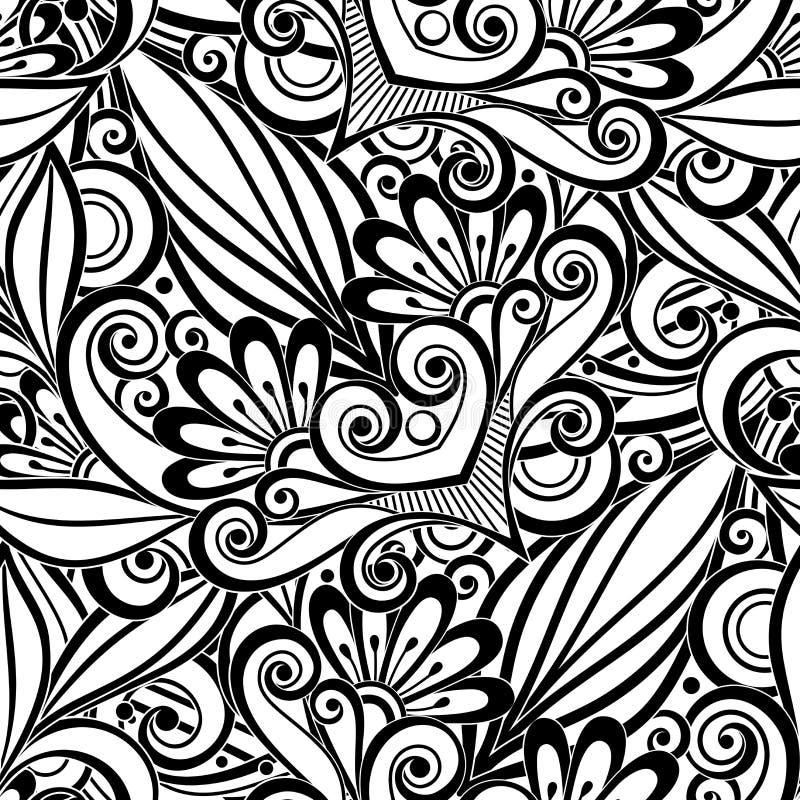 在乱画样式的传染媒介黑无缝的花卉样式 向量例证