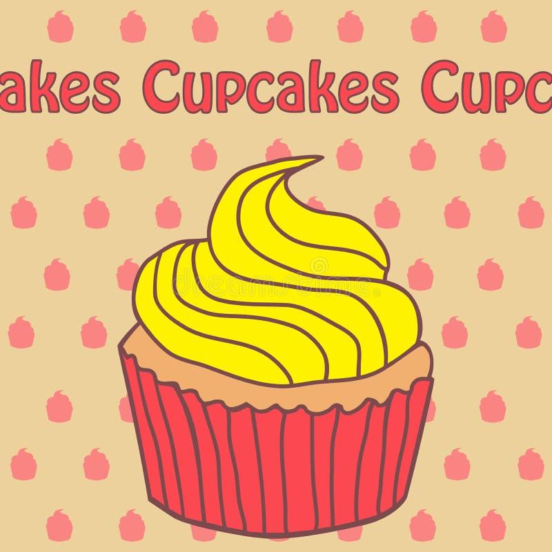 在乱画样式的杯形蛋糕和酸奶象 免版税图库摄影