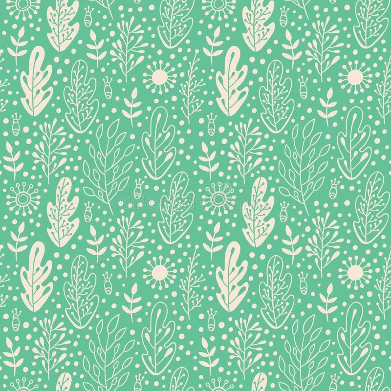在乱画样式的深绿色单色无缝的样式与叶子 春天和夏天自然背景 手拉的desig 皇族释放例证