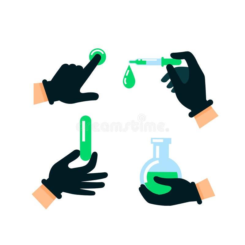 在乳汁手套的医生或科学家手 核能  库存例证