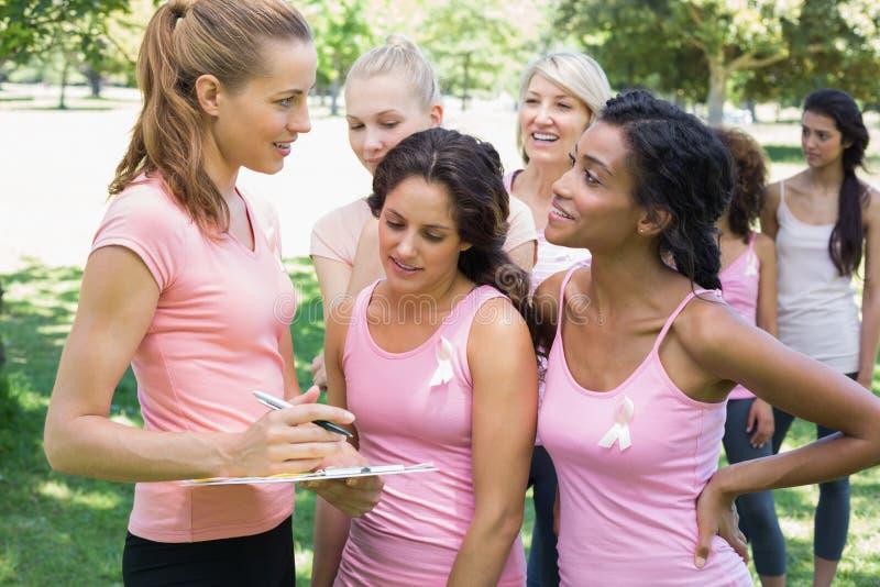 在乳腺癌了悟期间的志愿协助的参加者 免版税库存照片
